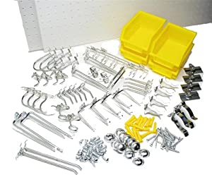Triton Products 994 DuraHook 56 Piece Zinc Plated Steel Hook Assortment and Four 22 Inch W x 18 Inch H x 1/4 Inch D White Polypropylene Pegboards for DuraBoard