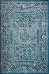 New City Light Blue Traditional French Floral Wool Persian Area Rugs 5\'2 x 7\'3