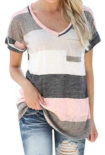 Chellysun Women Vneck Casual Short Sleeve Tshirt Blouse Tees Tops/Grey/Medium (Women Tops Short Sleeve compare prices)