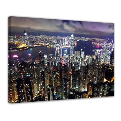 Bilderdepot24 Leinwandbild Hong Kong city at night - 70x50 cm 1 teilig - fertig gerahmt, direkt vom Hersteller