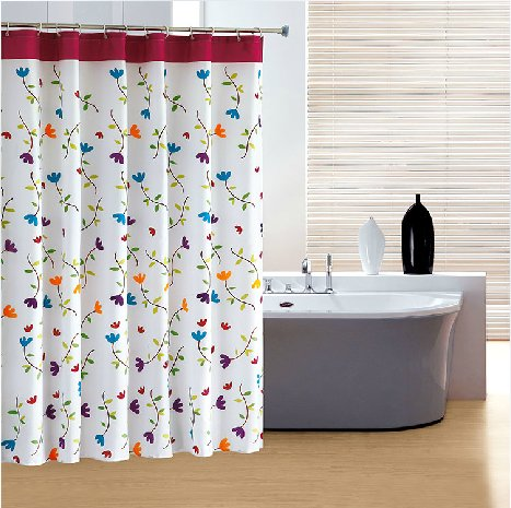 Eforgift Orchid Blooming Pattern Fabric Shower Curtains
