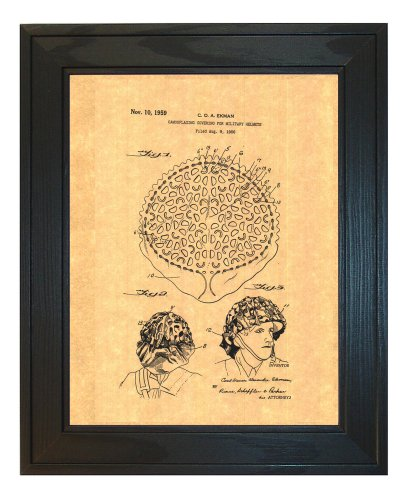 "Camouflaging Covering For Military Helmets Patent Art Print in a Solid Pine Wood Frame (8.5"" x 11"")"