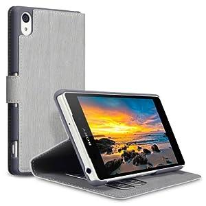 Terrapin Leder Tasche Case Hülle im Bookstyle mit Standfunktion Kartenfächer für Sony Xperia Z2 (Grau)