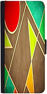 Snoogg Pastel Geometric Shapes 2677 Graphic Snap On Hard Back Leather + Pc Fl...