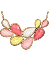 """18"""" Multicolored Shimmering Pastel Yellow, Coral & Pink Tear Drop Bib Statement Necklace"""