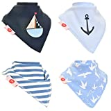 Zippy Fun Bandana Bibs for Babies and Toddlers (Nautical Blues Pack of 4)