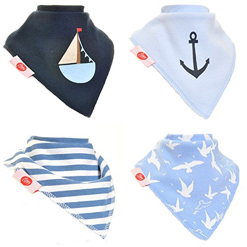 Zippy Fun Baby Bandana Drool Bibs (4 Pack Gift Set) Nautical Blues