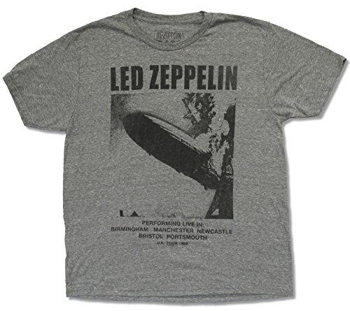 "Adult Led Zeppelin ""Uk Tour 1969"" Heather Grey T-Shirt (Small)"