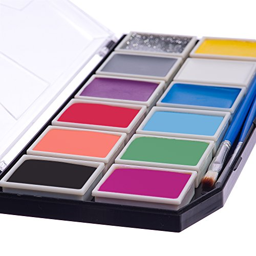 Face Paint Kit for Kids 12 Color. The Original X-Large Best Quality Body Painting Set +BONUS Glitter Gel, 3 Brushes, Stencil & Online Guide. Safe Non-Toxic Water-Based. Enough For 100s Boys & Girls