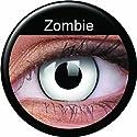 Farbige Kontaktlinsen Crazy Motivlinsen Kostüm Karneval WHITE ZOMBIE / WEISS MIT SCHWARZEM RAND weiß