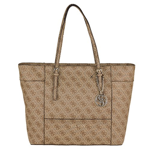 GUESS DELANEY Borsa shopping a spalla in tessuto siglato plasticato BROWN