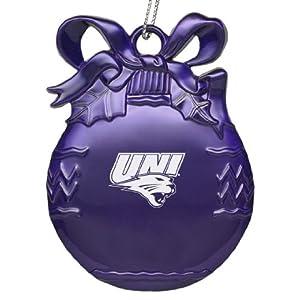 University of Northern Iowa - Pewter Christmas Tree Ornament - Purple