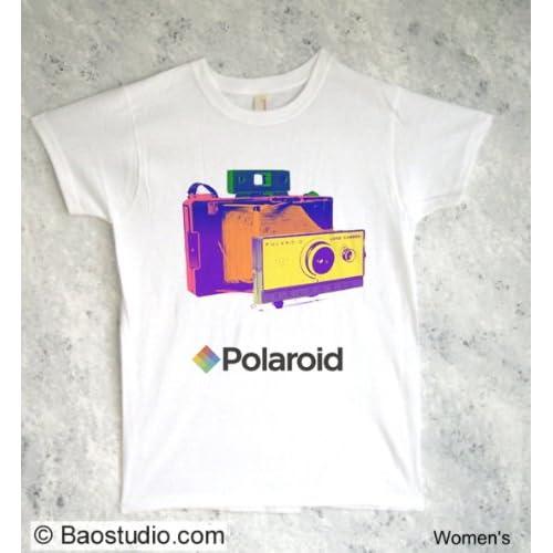 Polaroid Land Camera   Pop Art Graphic T shirt (Womens Large)