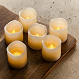 "Real Wax Flameless Candles with Timer (Set of 6) - Ivory LED Candles with Flickering Amber Yellow Flame - Battery Operated Candles - Unscented - 2"" x 2"" - Wedding Decor, Parties, Gifts"