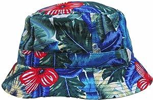 Blue Floral Print Bucket Hat Hawaiian Boonie Cap by KB Ethos