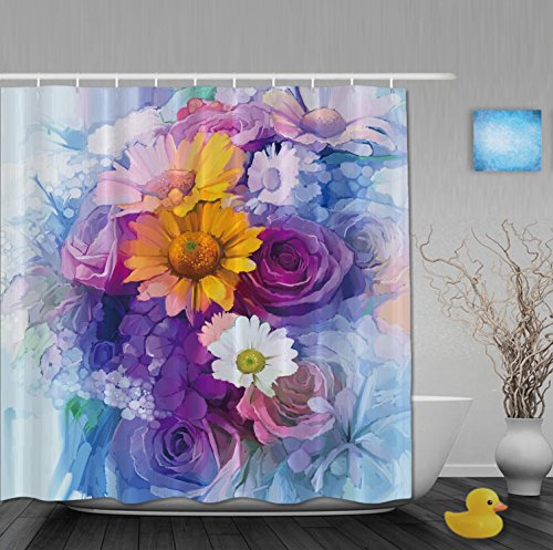 Oil Painting Blooming Flower Unique Bathroom Shower Curtains Mildew And Fade Resistant Waterproof Polyester Fabric Delicate For Gift 72