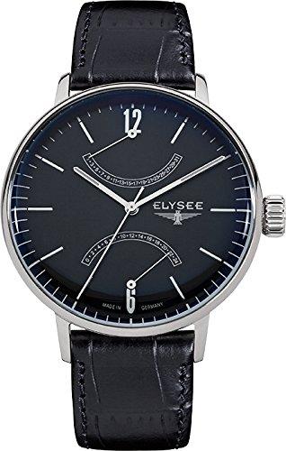 Elysee 13276 - Reloj para hombres, correa de cuero color negro