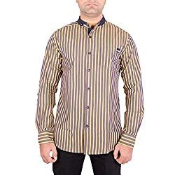 Enovate Men's Slim Fit Cotton Shirt (1009S_Multi-Coloured_Small)