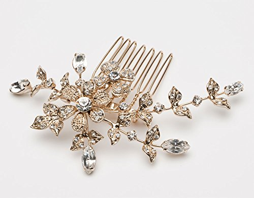 USABride Small Wedding Side Comb with Rhinestone Flowers, Gold-Plated Floral Bridal Headpiece 119-G (Bridal Head Comb compare prices)