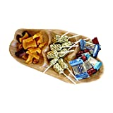WELLAND Root Wood Party Tray Appetizer Serving Platter, 3-Compartment