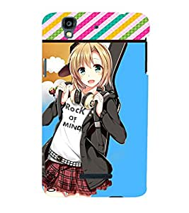 Omnam Cartoon Girl With Rock On Mind Printed Back Cover Case For Micromax Yureka