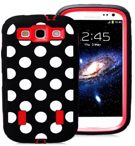 Mylife (Tm) Black And Red - Polka Dot Armor Series (Durable Built In Screen Protector + Urban Body Armor Glove) Case For Samsung Galaxy S3 Gt-I9300 And Gt-I9305 Touch Phone (Thick Silicone Outer Gel + Tough Rubberized Internal Shell + Mylife (Tm) Lifetime