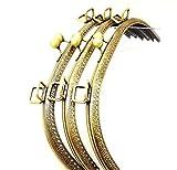 大きな がま口 25cm 口金 金具 アンティーク ゴールド 穴あき タイプ(25cm 3個)