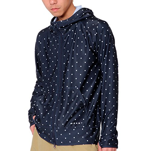 PR-4000 DOT-NVY L size PONTAPES (pontapes) mens ladies rash guard hoodies long sleeve UV cut UPF50 finger holes with fashionable dot polka dot pattern Navy swimsuit