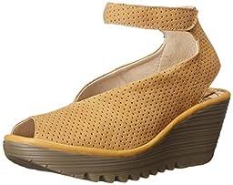 Fly London Women\'s Yala Perf Dress Sandal, Ochre/Ochre Cupido/Mousse, 37 EU/6.5-7 M US