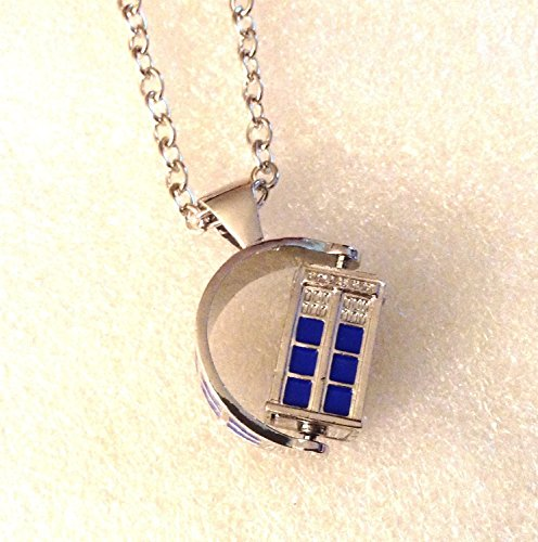 "Doctor Who SPINNING 3D TARDIS Police Box Pendant NECKLACE w/ 30"" Chain"