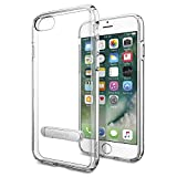 iPhone 7 Case, Spigen [Ultra Hybrid S] Metal Kickstand [Crystal Clear] Clear back panel + TPU bumper for Apple iPhone 7 - (042CS20753)