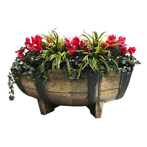 Rectangular Vintage-like Half Barrel Planter with Drain Holes, 16-Inch
