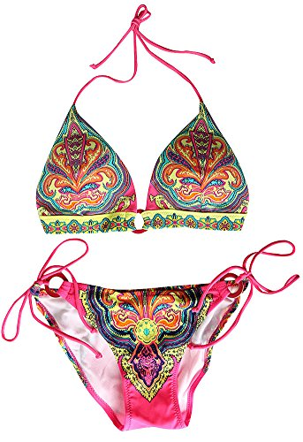 VonFon Flower Printing Push Up Top & Triangle Bottom Women Swimwear Bikini Pink Medium image