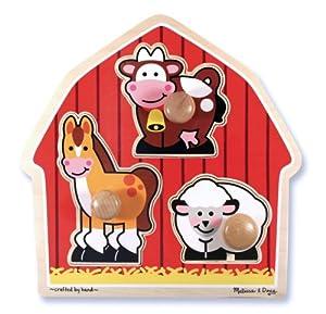 Melissa & Doug Barnyard Animals Large Peg Puzzle