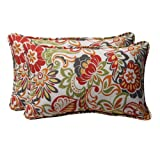 Pillow Perfect Decorative Multicolored Modern Floral Rectangle Toss Pillows 2-Pack