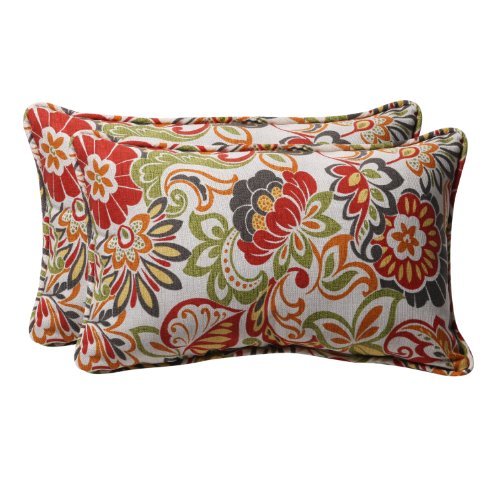 Modern Floral Pillows : Pillow Perfect Decorative Multicolored Modern Floral Rectangle Toss Pillows, 2-Pack Home Decor