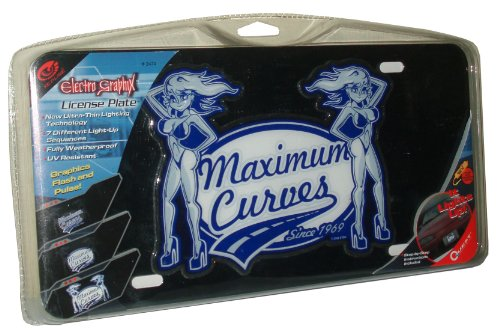 """Quest 2486 Electro Graphix License Plate With Graphic Light And Image 2 Sexy Ladies And Slogan """"Maximum Curves Since 1969"""""""