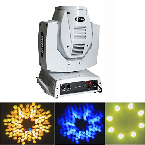 Yiscor Stage Lighting Beam Spot Light 230W Moving Head Dmx512 Osram 7R Lamp Bulb 16Ch 14Colors Gobo For Disco Club Dj Xmas Christmas Birthday Home Garden Party Effect - White