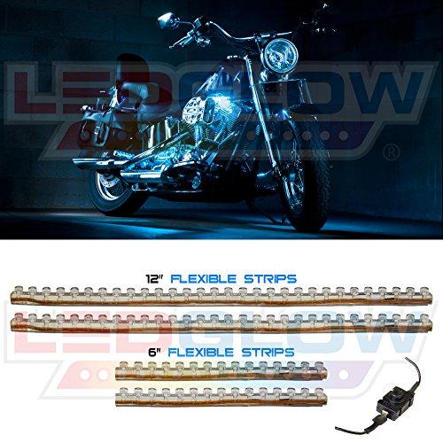 LEDGlow 4pc Ice Blue LED Flexible Motorcycle Light Kit (Ice Blue Motorcycle Lights compare prices)