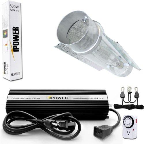 Ipower Glsetx600Dhct6 600-Watt Light Digital Dimmable Hps Grow Light System For Plants - Cool Tube Set