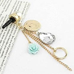 Sundy Gallery Earphone Jack Accessory Rose Flower Chain Beads Crystal Pearls / Cell Phone Charms / Dust Plug For iPhone 4 4S / iPad / Samsung Galaxy S3 S4 S5 / Other 3.5mm Ear Jack (Design #1)