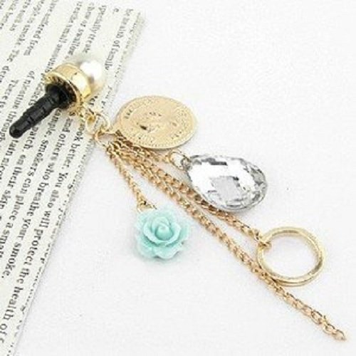 Sunday Gallery Earphone Jack Accessory Rose Flower Chain Beads Crystal Pearls / Cell Phone Charms / Dust Plug For iPhone 4 4S / iPad / Samsung Galaxy S3 S4 S5 / Other 3.5mm Ear Jack (Design #1)