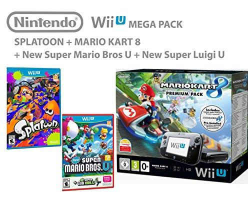Nintendo Wii U Premium Pack 32GB + Mario Kart 8 + Splatoon + Super Mario & Luigi U - Mega pack 4 giochi !
