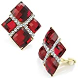 Garnet tone crystal diamond shape clip on earring