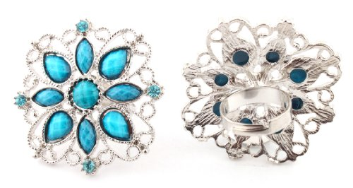 Ladies Blue Antique Styled Flower Metal Adjustable Finger Ring