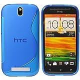 CoolGadget HTC ONE SV TPU Silikon H�lle S-Design in blau + 1x Schutzfolie Clear