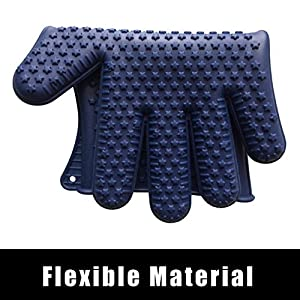Thermal Insulating Silicone Cooking Gloves | Heat Resistant Gloves for Grill and Oven Use | Blue with Star Grip Pattern