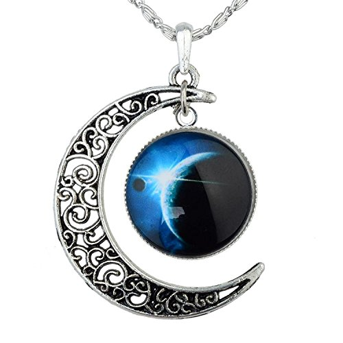 Tricess Women's Crescent Moon Galactic Universe Cabochon Pendant Necklace Gift