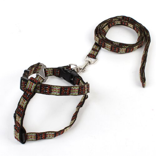 Como 1.1M Long Lead Multicolored Doggie Dog Pet Collar Halter Harness Leash