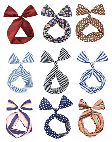 Cloris Twist Bow Wired Headbands Scarf Wrap Hair Accessory(9 Pack) (Vintage Head Wraps compare prices)